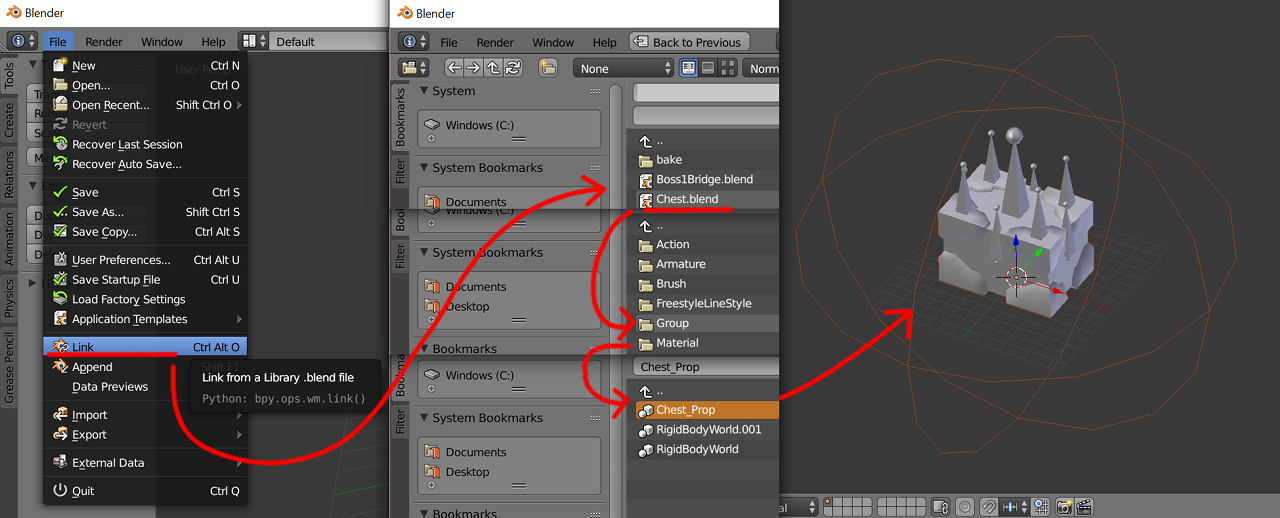 Linking a group in blender.
